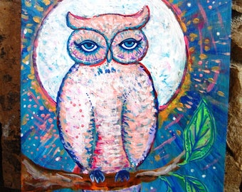 Pink Owl, Full Moon / Mixed Media Painting