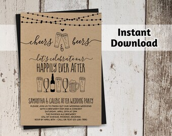 Cheers & Beers After Wedding Party Invitation Template - Rustic Brewery Printable - Kraft Paper - Instant Download PDF - String Lights