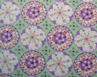 Dena Designs, Sun Drop, Circle Blossoms in Lavender and Rose - 1 Yard Clearance