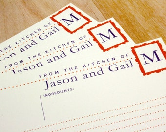 50 Jumbo Personalized Recipe Cards, 8x11, Customized With Colors and Name