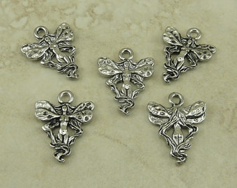 5 Fairy Princess Charms > Goddess Fae Pixie Fantasy Forest Magic Creature - American Made Lead Free Silver Pewter I ship internationally