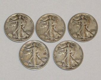 Vintage Silver Coin Lot of 5 WALKING LIBERTY Half Dollar Coins 90% Silver Coins 1941 to 1946