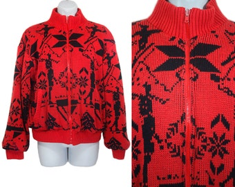 10 Dollar Sale---Vintage 80's Red & Black Ski/Snow Jacket Reversible L