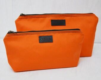 Engraved Personalized Canvas Zipper Clutch, Monogrammed Zipper Wristlet, Orange Purse, Engraved label, Bridesmaid Gift, Cosmetic Bag Set