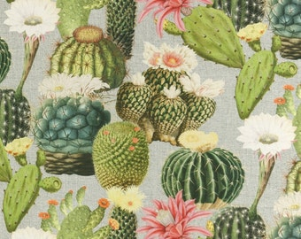 Solid cotton fabric Cactus, flowering cacti - pure cotton