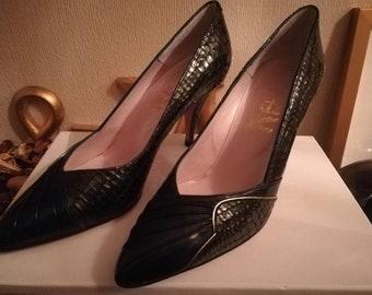 Vintage black Croc snake skin designer leather shoes size 4 37 with matching handbag