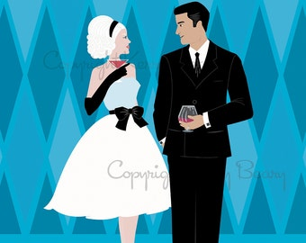 Cocktail Hour 11x14 Original Art Giclee Print by Kerry Beary Mid-Century Mad Men Cheers