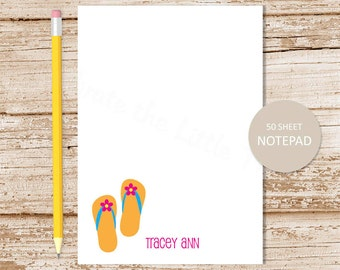 personalized notepad . flip flops notepad . flip flops note pad stationery . girls stationary