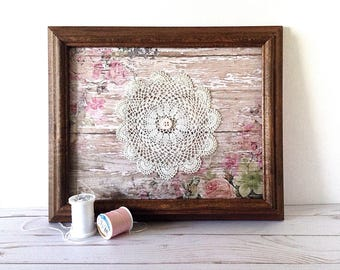 Doily wall art, framed doily, pink floral wall art, chippy paint art, rustic doily art, pink shabby doily, Valentine wall art, cottage rose