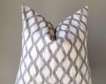 Gray Ikat Pillow Cover, accent pillow cover, Gray White pillow, Handmade pillows, Throw pillow, Designer's fabric pillow
