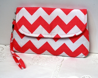 Pink Chevron Clutch, Padded Clutch, Iphone clutch