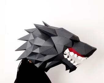 Werewolf DIY KIT, wolf mask, 3d papercraft, supernatural big wolf mask, werewolf costume,  papercraft animal, mask for glasses, beast mask.