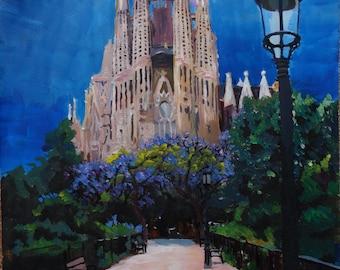 Barcelona Sagrada Familia with Park and Lantern - Limited Edition Fine Art Print