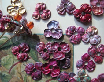 20 Painted  Brass Pansy Flowers