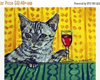 25% off cat art - Ocicat , cat , wine,  print, modern folk art, cat art, cat print, cat gift, gift for wine lover, cat gifts, gift