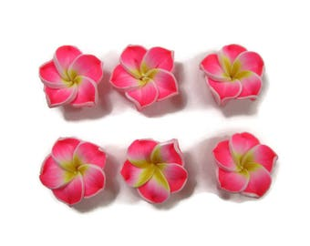 15 mm Polymer Clay Plumeria Flowers Set of 6 (SP9)