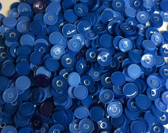 Medicine  flip off vial caps for crafts: 13mm  blue caps- 500 + pieces