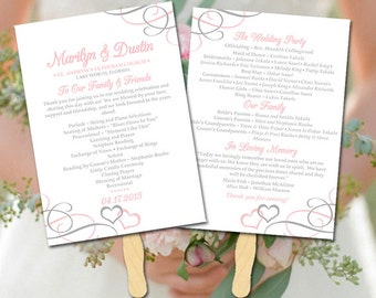 """Heart Wedding Program Fan Template - DIY Wedding Program Printable """"Entwined Hearts"""" Pale Pink Silver Order of Ceremony Instant Download"""