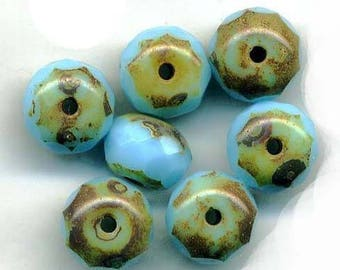 Bohemian style round flattened faceted 9 x 6 mm turquoise beads and mottled Brown