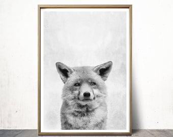 Digital Art Prints Fox Print Wall Art Prints  Fox Art Cute Animal Nursery Print