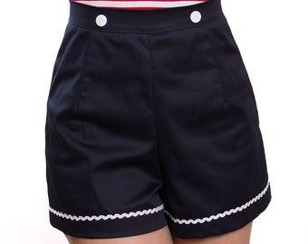 SUNNY_03 Retro High Waist Shorts NAVY