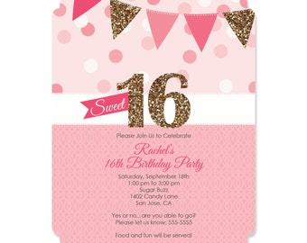 Sweet 16 Birthday Invitations - Personalized Birthday Party Invites - Set of 12