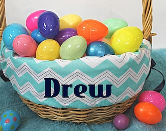Turquoise Chevron Arrow Personalized Easter Basket Liner--- Lots of fabrics to choose from