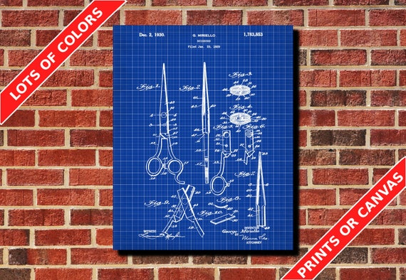 Salon scissors blueprint hairdresser patent print poster salon like this item malvernweather Images