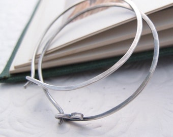 organic hammered sterling silver hoop earrings - rustic boho earrings for her
