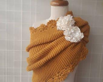 Mustard Gold Yellow Knitting Shawl / Any Season - Wedding shawl, wedding shrug, bridal shrug, White Wedding, Wedding, knitting wedding shawl
