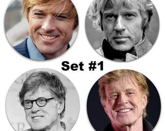 """Robert Redford Set Of 4 LARGE 2.25"""" Pinback Buttons Or Magnets - 2 Sets To Choose From Shirtless"""