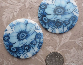 Vintage Glass Floral Cabochons  Large 38 mm Round Decal Cab Blue Poppy on White (choose 1 pc or 2 pc)