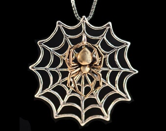 Spider Necklace Spiderweb Necklace Bronze and Silver - Interchangeable Web and Spider Pendant - Spider Jewelry Spiderweb Jewelry - Two Tone