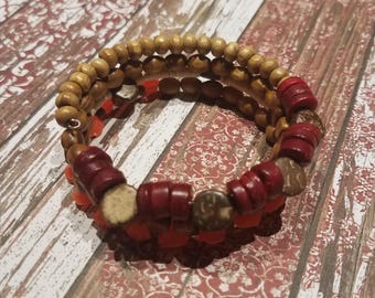 Wire Wrapped Bracelet with Wooden and Acrylic Beads