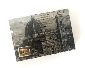Florence Italy Mixed Media Art Block, Florence Mixed Media Painting, Florence Italy Art, Florence Italy Collage Photo Transfer