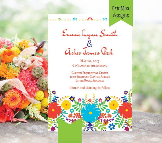 Mexican themed Wedding Invitation Bright Wedding Invitation