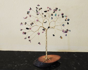 8th Wedding anniversary gift, Tourmaline wire tree sculpture, Tourmaline gemstone tree on wood, Tree of life ornament, Leo birthstone, Libra