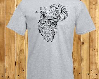 Mens Steampunk Heart, Anatomical Heart Shirt, Husband Steampunk T-Shirt, Boyfriend Anatomy Tshirt, Gifts For Men, Steampunk Lover, Clockwork