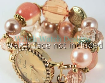 Fields of Gold.. Peach, Champagne, Bronze and Gold Interchangeable Beaded Watch Band