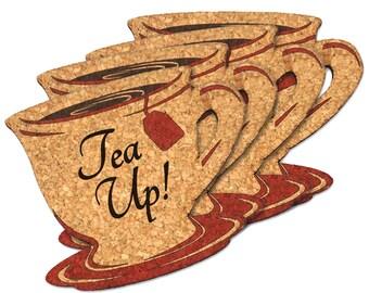 Friendsgiving Party Decor, Wedding Favor Coasters, Fall Decorations, Tea Up Shaped Cork Coaster - Set of 4