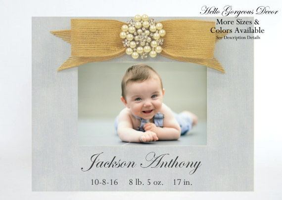 Baby Picture Frame Gift Newborn New Baby Photo Frame Rustic Burlap ...