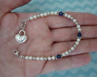 "Vintage Petite 7"" Long White Faux Pearl, Swarovski Crystal and Sterling Silver Bracelet w/ Sterling Heart Charm"