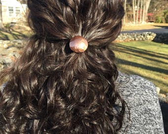 Copper Hammered Dome Convex Hair Tie- copper cuff boho minimalist handmade hand forged graduation gift for her bridesmaid gift yoga jewelry