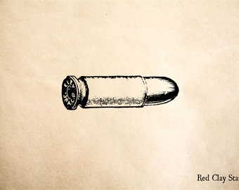 Bullet Cartridge Rubber Stamp - 2 x 2 inches