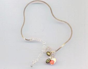Sterling Silver Foxtail Chain Vintage Bracelet . 10 x 10 mm SS Heart . Small Gemstones - Valentine's Love& Romance by enchantedbeas on Etsy