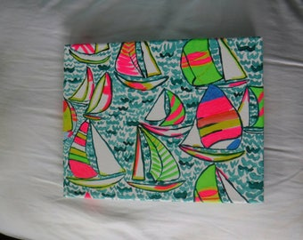 Hand Painted Canvas - Lilly Pulitzer Inspired 'Ugotta Regatta' Pop-Up