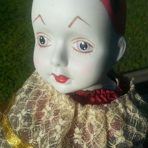 Vintage Porcelain Clown Doll with Stand