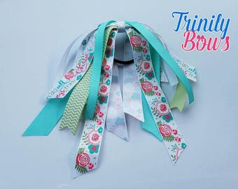 All Things Thru Christ - Ponytail Streamer -Christian -  Flowers - Turquoise and Mint