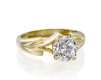 2 carat Moissanite Solitaire ring-Moissanite  Engagement Ring-Gold ring -Women Jewelry-Promise ring-Bridal Jewelry- Moissanite Round Cut