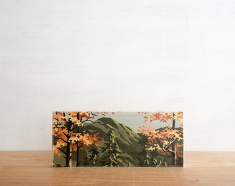 Paint by Number style Art Block 'Mountain Autumn' -  fall color, autumn foliage, vintage landscape